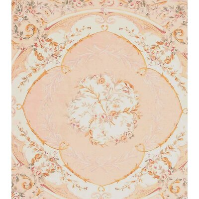 Aubusson Hand-Woven Wool Beige/Brown Area Rug Rug Size: Square 6'11