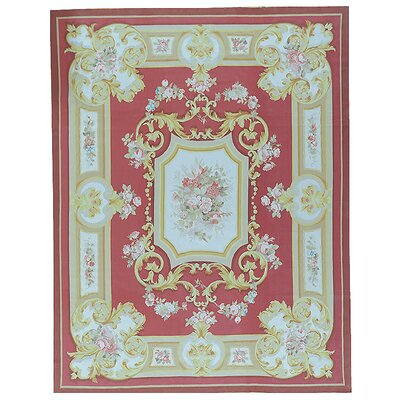 Aubusson Hand-Woven Wool Red/Gold Area Rug