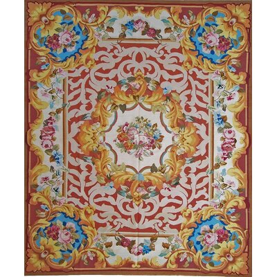 One-of-a-Kind Aubusson Hand-Woven Wool Red/Gold Area Rug