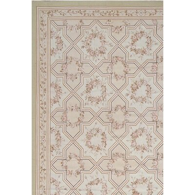 Aubusson Hand-Woven Wool Brown/Gray Area Rug Rug Size: Rectangle 81 x 121