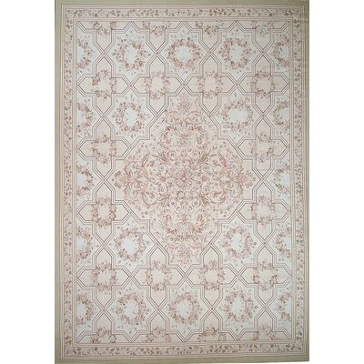 Aubusson Hand-Woven Wool Brown/Gray Area Rug Rug Size: Rectangle 89 x 121
