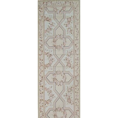 Aubusson Hand-Woven Wool Brown/Gray Area Rug Rug Size: Runner 211 x 102