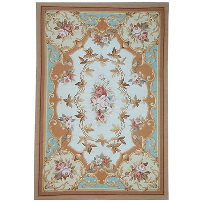 One-of-a-Kind Aubusson Hand-Woven Wool Ivory/Red/Blue Area Rug