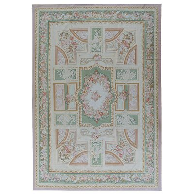 Aubusson Hand-Woven Wool Green/Brown Area Rug Rug Size: Rectangle 125 x 157