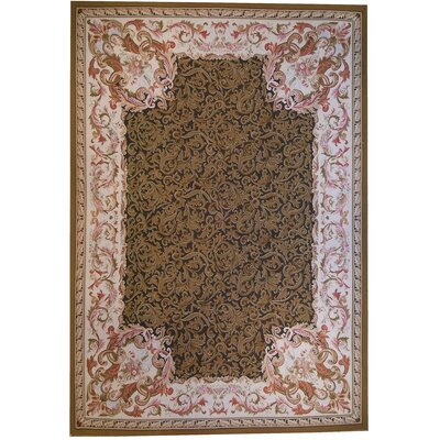 Aubusson Hand-Woven Wool Brown/Pink Area Rug