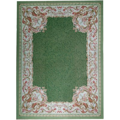 Aubusson Hand-Woven Wool Green/Pink Area Rug Rug Size: Rectangle 910 x 141