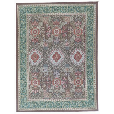 Aubusson Hand-Woven Wool Brown/Green Area Rug Rug Size: Rectangle 11 x 1511