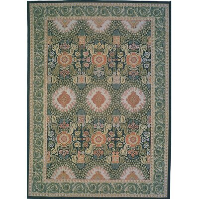 Aubusson Hand-Woven Wool Green/Red Area Rug Rug Size: Rectangle 10 x 14