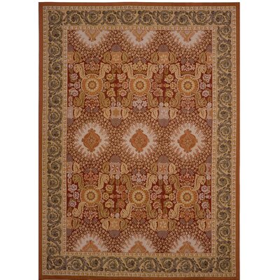 Aubusson Hand-Woven Wool Brown/Red Area Rug Rug Size: Rectangle 79 x 101