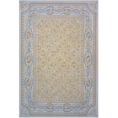Aubusson Hand-Woven Wool Beige/Brown/Blue Area Rug Rug Size: Rectangle 79 x 10