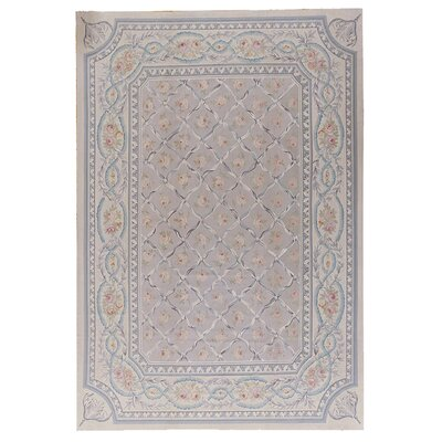 Aubusson Hand-Woven Wool Gray/Blue Area Rug