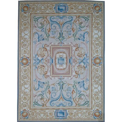 One-of-a-Kind Aubusson Hand-Woven Wool Cream/Beige Area Rug