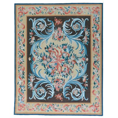 One-of-a-Kind Aubusson Hand-Woven Wool Red/Beige/Black Area Rug