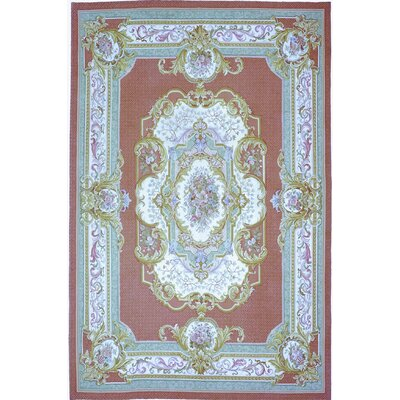 One-of-a-Kind Aubusson Hand-Woven Wool Red/Green/Gold Area Rug