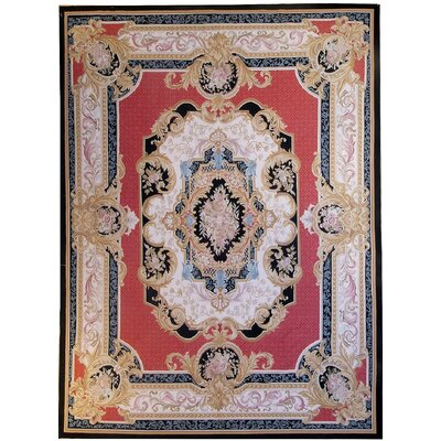 Aubusson Hand-Woven Wool Red/Gold/Black Area Rug