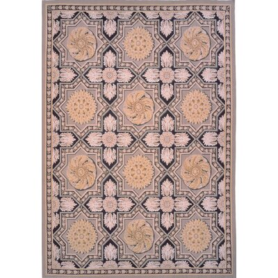 Aubusson Hand-Woven Wool Pink/Black/Beige Area Rug Rug Size: Rectangle 9 x 122