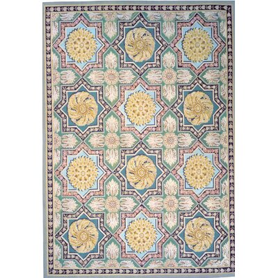 Aubusson Hand-Woven Wool Green/Blue/Beige Area Rug Rug Size: Rectangle 121 x 186