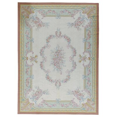 Aubusson Hand-Woven Wool Brown/Yellow/Beige Area Rug Rug Size: Rectangle 112 x 155
