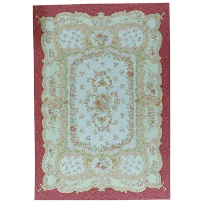 One-of-a-Kind Aubusson Hand-Woven Wool Red/Green Area Rug Rug Size: Rectangle 98 x 137