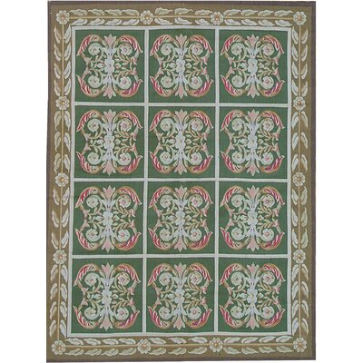 One-of-a-Kind Aubusson Hand-Woven Wool Green/Brown/Red Area Rug Rug Size: Rectangle 76 x 107