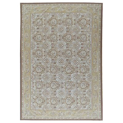 One-of-a-Kind Aubusson Hand-Woven Wool Brown/Beige Area Rug Rug Size: Rectangle 111 x 162