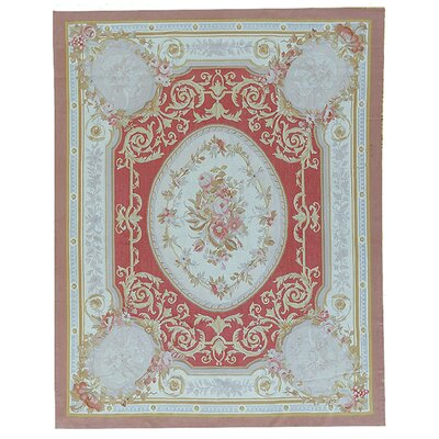 Aubusson Hand-Woven Wool Brown/Red/Cream Area Rug