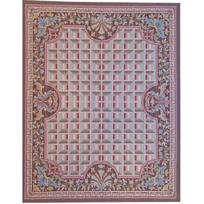 Aubusson Hand-Woven Wool Pink/Brown Area Rug