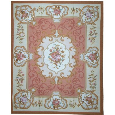 One-of-a-Kind Aubusson Hand-Woven Wool Brown/Red Area Rug