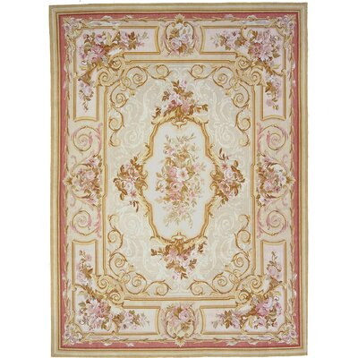 Aubusson Hand-Woven Wool Red/Brown/Beige Area Rug