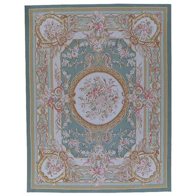 Aubusson Hand-Woven Wool Green/Brown Area Rug Rug Size: Rectangle 8 x 108