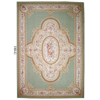 Aubusson Hand-Woven Wool Green/Brown Area Rug