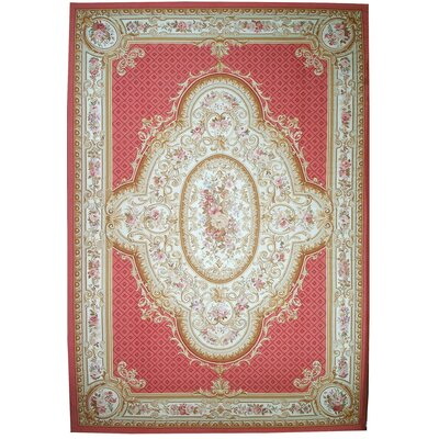 Aubusson Hand-Woven Wool Red/Brown Area Rug
