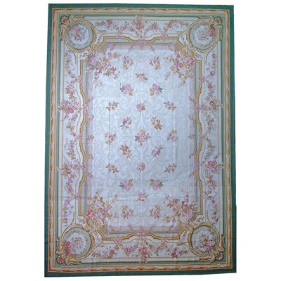 Aubusson Hand-Woven Wool Ivory/Green/Brown Area Rug Rug Size: Rectangle 81 x 103