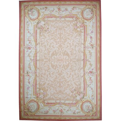 Aubusson Hand-Woven Wool Beige/Peach Area Rug