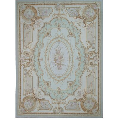 Aubusson Hand-Woven Wool Beige/Green/Blue Area Rug