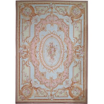 Aubusson Hand-Woven Wool Beige/Peach/Ivory Area Rug