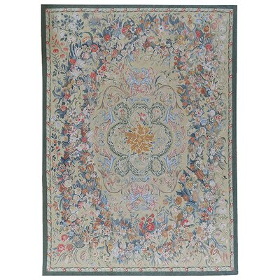 One-of-a-Kind Aubusson Hand-Woven Wool Money Green/Blue/Red Area Rug
