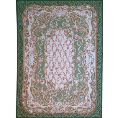 Aubusson Hand-Woven Wool Green/Red Area Rug