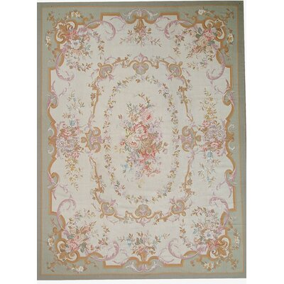Aubusson Hand-Woven Wool Green/Beige/Red Area Rug