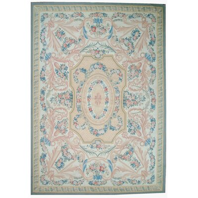 One-of-a-Kind Aubusson Hand-Woven Wool Blue/Beige/Peach Area Rug Rug Size: Rectangle 8 x 102