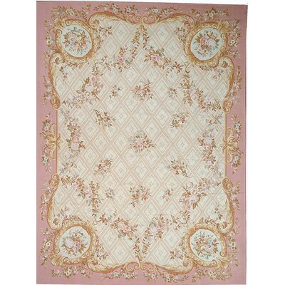 Aubusson Hand-Woven Wool Pink/Beige/Peach Area Rug