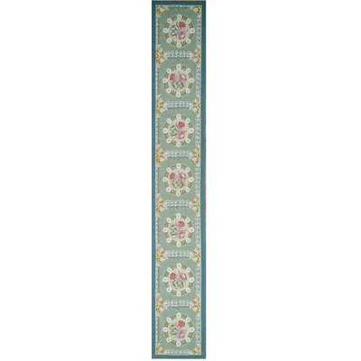 Aubusson Hand-Woven Wool Green/Blue Area Rug