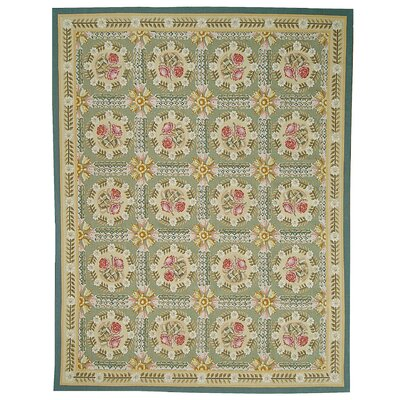 Aubusson Hand-Woven Wool Green/Beige Area Rug Rug Size: Rectangle 97 x 141
