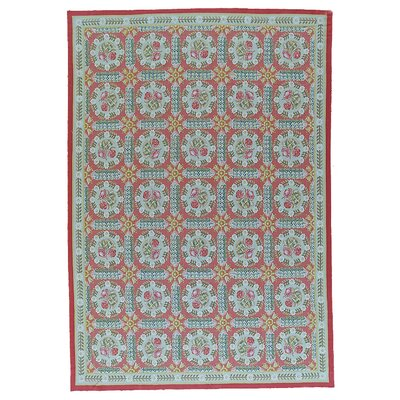 Aubusson Hand-Woven Wool Red/Blue Area Rug Rug Size: Rectangle 138 x 201