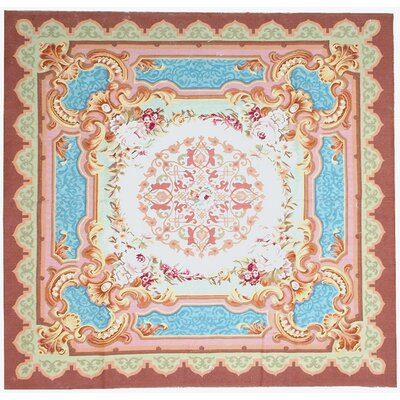 Aubusson Hand-Woven Wool Sky Burgundy/Blue/Green Area Rug