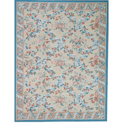 One-of-a-Kind Aubusson Hand-Woven Wool Blue/Beige/Ivory Area Rug Rug Size: Rectangle 96 x 127