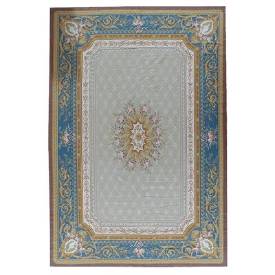 Aubusson Hand-Woven Wool Gray/Blue/Brown Area Rug