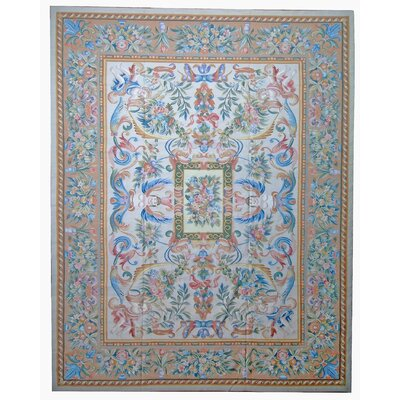 Aubusson Hand-Woven Wool Blue/Brown/Salmon Area Rug Rug Size: Rectangle 81 x 98