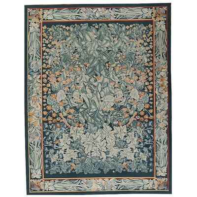 One-of-a-Kind Aubusson Hand-Woven Wool Green Area Rug Rug Size: Rectangle 91 x 1110