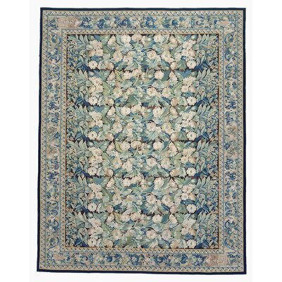 One-of-a-Kind Aubusson Hand-Woven Wool Green/Blue Area Rug Rug Size: Rectangle 103 x 137